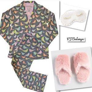 PJ SALVAGE Sweet Set Grey Birds Cotton Pajama Set
